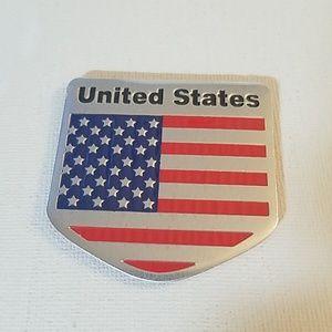 "USA Flag Metal Decal w Sticker Backer 3"" x 3"""